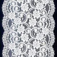Buy cheap 10cm White Elastic Lace Trim, Suitable for Garment Accessory, Made of Nylon + Spandex from wholesalers