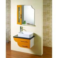 Buy cheap Square shape floating bathroom sink cabinets modern with 5mm silvered float mirror from wholesalers