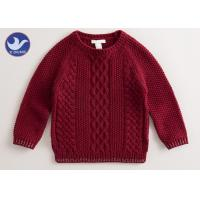 Multi Cable Knitting Girls Long Sleeve Sweaters , Girls Red SweaterSide Slit