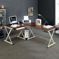 Buy cheap Glass Corner Desk with Pull-out Keyboard Shelf, Suitable for Home and Office Decorations from wholesalers