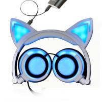 Buy cheap Foldable Flashing Glowing Sport Bluetooth Earphone HIFI Stereo With Cat Ear from wholesalers