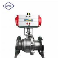 Buy cheap XinYi 2 Way Stainless Steel PTFE Flanged Connection Pneumatic Actuated Ball Valve from wholesalers