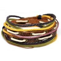 Buy cheap Color hemp, cotton cord knotting handmade stretch Leather Rope bangle Bracelet from wholesalers