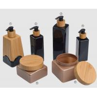 Buy cheap 500ml 250ml 750ml 200ml  cosmetic plastic PET bottles and jar in bamboo pump from wholesalers