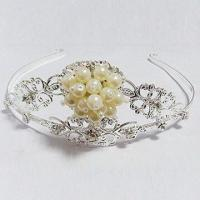 Buy cheap Tiara/Crown/Wedding Hair Ornaments, Made of Cup Chain/Rhinestone, Comes in Silver, Nickel-/Lead-free from wholesalers