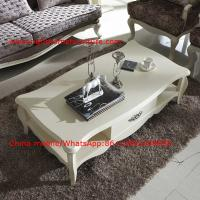 Buy cheap Neoclassical style Coffee table in smart flower craft with tempered glass top and Teatable set with wood drawers from wholesalers