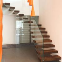 Buy cheap Modern villa stair design indoor glass railing stairs wooden floating stair from wholesalers