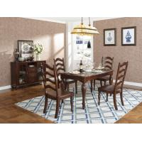 Buy cheap Rubber Wood Home dining room furniture Long and round dining table with 4/6 people Chair can by Upholstered cushion seat product