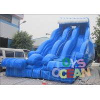 Buy cheap Blue Wave 3 Lanes Backyard Inflatable Water Slides Fashion For Summer Kids from wholesalers