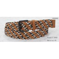 Buy cheap Mixed Wax Rope And PU Womens Brown Braided Belt With Old Silver Roller Buckle 3.5cm Width from wholesalers