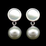 Buy cheap Korean Japanese Style 925 Silver Zircon Drop Earrings / Symmetry Pearl Shell Dangle Earrings from wholesalers
