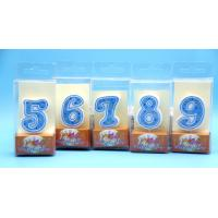 Hand Painting 0-9 Number Candle with White Edge Blue backgrand and Yellow Star