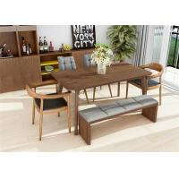 China Classic Leather 6 Chairs Contemporary Walnut Dining Table Set , Kitchen Walnut Wood Dining Table on sale