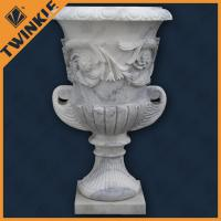 Buy cheap Natural Stone Garden Flower Pots / White Marble Surface Polished from wholesalers