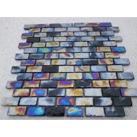 Buy cheap Colorful Brick Marble Glass Accent Tile , Glass Floor Tiles Bathroom Mosaic from wholesalers