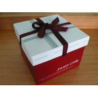 Buy cheap Red Cake Paper Box Packaging With Silk Ribbon , Custom Designed Boxes from wholesalers