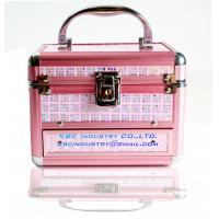 Buy cheap Pink Print Aluminum Cosmetic Case Mirror Makeup Organizer SMALL Drawer Lock Box from wholesalers