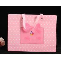 China Delicate Custom Printed Paper Bags / Pink Paper Carrier Bags For Toys / Jewelry on sale