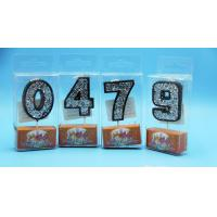 Buy cheap Food Grade Handmade Number Birthday Candles Black Color With Silver Laser Paillette from wholesalers