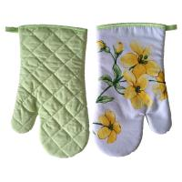 Buy cheap 100% Cotton Fabric Cooking Heatproof Floral Kitchen Oven Mitts AZO Free from wholesalers
