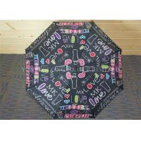 Buy cheap Study Storm Proof Windproof Folding Umbrella With Letter Patterns Metal Tips from wholesalers
