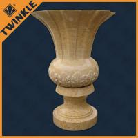 Buy cheap House decoration marble pedestal stone flower pots for yard / garden planter from wholesalers