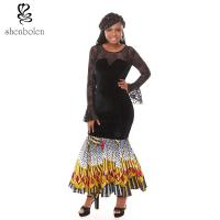 Buy cheap Summer Lace Batik Cloth Stitching Long Sleeves Modern African Dresses Novelty from wholesalers