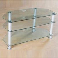 Buy cheap TV Stand with 8mm Thick Toughened Glass and 5mm Aluminum Frame from wholesalers