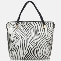 Buy cheap White and Black Color Patent Soft Leather Tote Zebra Print Handbags from wholesalers