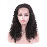 China Jet Black Real Virgin Hair Lace Wigs , 100 Human Full Lace Wigs Kinky Curly on sale