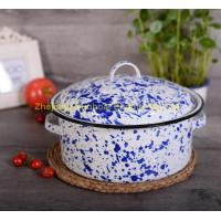 Buy cheap blue+white color cast iron 5QT enamel stock pot with cover and handles product