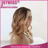 Buy cheap Promotion AAAAA grade free shipping Invisible knots honey blonde silk wig from wholesalers