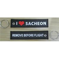 Buy cheap I love Sacheon Remove Before Flight Custom Name Tag Embroidery Key Chain from wholesalers