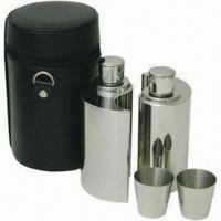 Buy cheap Stainless Steel Hip Flask and Shot Glass Wine Set, with Silk Screen and Laser Engrave Imprint from wholesalers