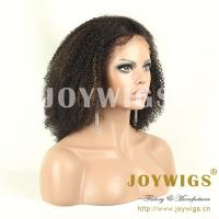 Buy cheap factory price stock indian remy human hair afro kinky curly full lace wig from wholesalers