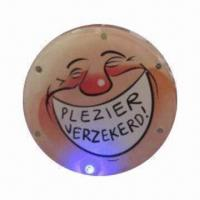 Buy cheap LED flashing tinplate button badge with pin and lithium battery in back for advertising from wholesalers