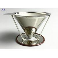 Buy cheap Reusable Pour Over Coffee Filter Stainless Steel Stable V Style Dripper from wholesalers