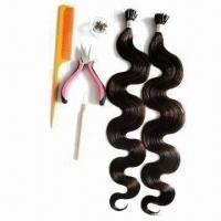 Buy cheap 20 6# Body Wave Stick Hair Extensions in Medium Brown/Dark Color, Tangle-free/No Shedding from wholesalers