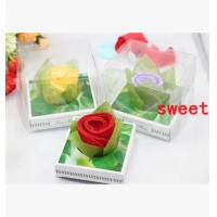 Buy cheap New creative promotion gift product wedding rose shape towel with gift box from wholesalers