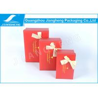 Buy cheap Red Ribbon Bow Cardboard Decorative Boxes Recyclable Rectangular Shape from wholesalers
