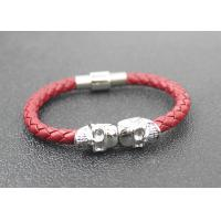 Buy cheap Skull Braided Woven Leather Bracelet With Stainless Steel Magnetic Buckle from wholesalers