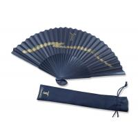 Buy cheap Folding gold printing Black Handmade Paper Fan Gift Fansionable Design With Fabric Bag product