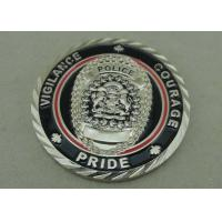 Buy cheap 3D Rope Edge Antique Metal Coin Hard Enamel Silver Policeman Coin Souvenir Challenge Die Casting Coin from wholesalers