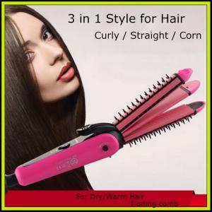 China NHC-8890 Electric 3 in 1 Hair Straightener Hair Stick Hair Curler Hair Trimmer Hair Clipper on sale