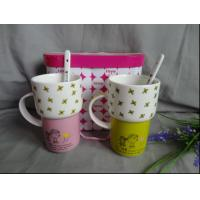 Buy cheap ceramic coffee cup with printing and spoon from wholesalers