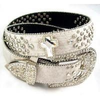 Buy cheap cocro pu leather waist belt for women with bling rhinestone from wholesalers