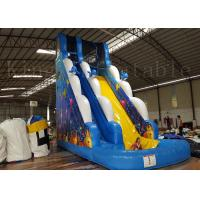 Buy cheap Children / Adult Blue Inflatable Water Slide With Two Lane 1 Year Warranty from wholesalers