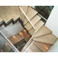 Buy cheap Wooden Straight Staircase Design With Glass Railing for House from wholesalers