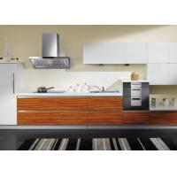 Buy cheap Custom Teak Wood Veneer Kitchen Cabinets Pure White Quartz Stone Countertop from wholesalers