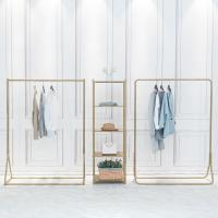 Buy cheap Nordic Design Golden Standing Clothes Rack , Shop Ground Clothing Display Rack product
